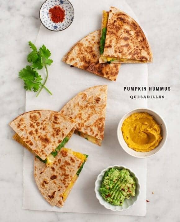 Pumpkin Hummus Quesadillas / @loveandlemons